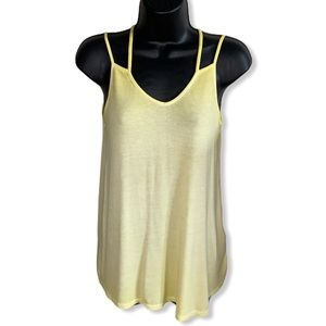 Pink Rose Two Strap Yellow Relaxed Tank Top